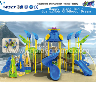 Outdoor Kinder Schule Multi-Slide Blue Sea Breeze verzinktem Stahl Spielplatz (HA-03301)