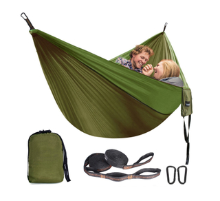 Hot Seller Double Backpack Portable Hammock with 10feet Strap D Shape Carabiners
