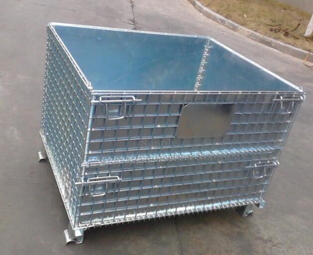 Stackable Folding Wire Mesh Container with Steel Plate