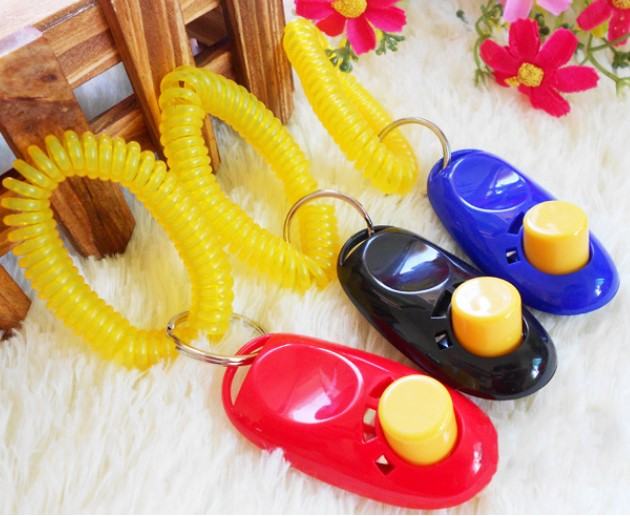 Pet Dog Metal clicker Big Button Dog Training Clickers with Plastic Wrist Band