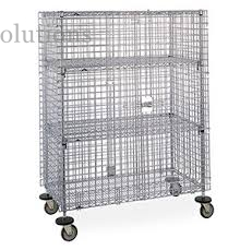 Cold Steel Galvanized Mobile Wire Security Cages Three Shelves For Hotel Transship