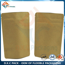 Kraft Paper Aluminum Foil Stand Up Pouch with Zipper for Food Grade Packaging