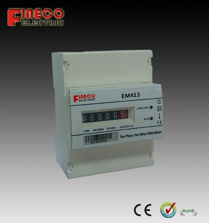 Single Phase Meter Mechanical : Em  a electromechanical display single phase din