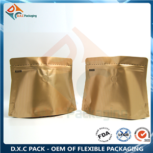 Stripe Shaped Pouch Trapezoid Pouch with One-way Degassing Valve for Coffee Packaging