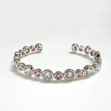 Round Pink & Clear CZ Bangle