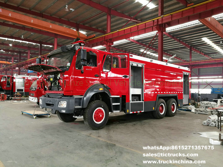 Right hand drive 12Ton water,4Ton foam Beiben off road 6x6 water foam fire truck export to Africal