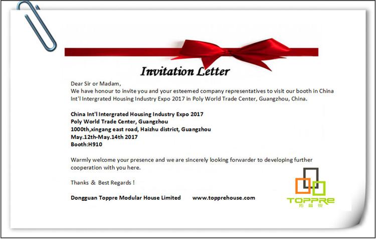 Attend prefab house fair cihie in guangzhou toppre modular invitation letter 01g stopboris Choice Image