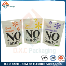 White Kraft Paper with Customized Window & Zipper Stand Up Pouch For Candy