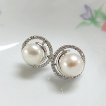 Pearl & CZ Circle Earrings