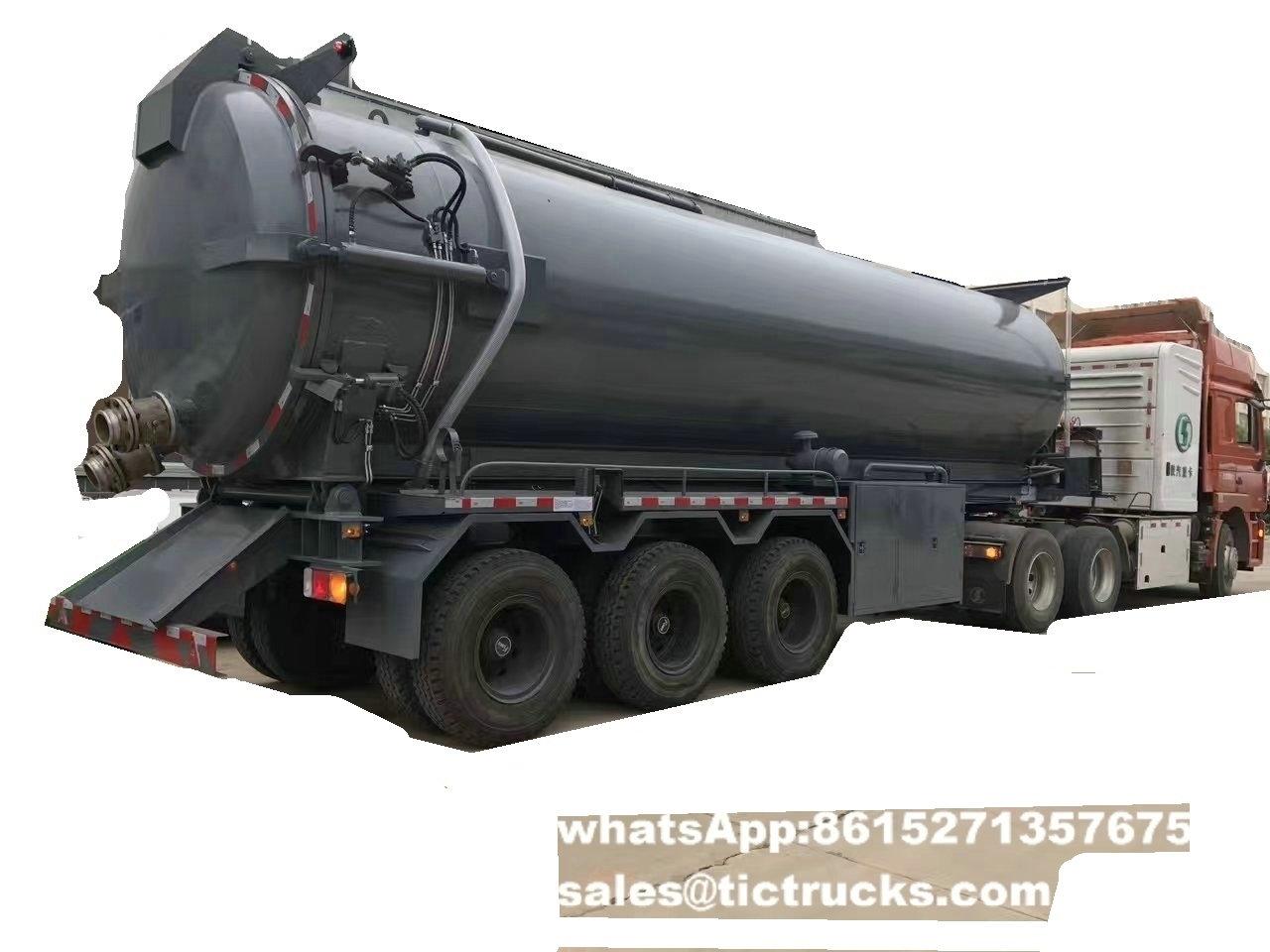 tri axles Vacuum Sewage Tank Trailer 28000L for export