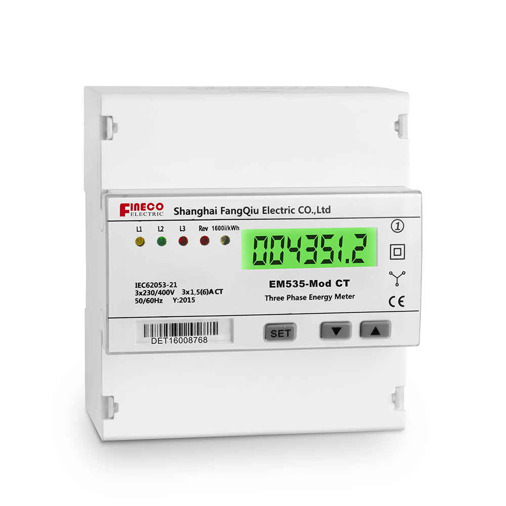 Em535 Mod Ct Modbus Three Phase Connected Meter Five Modular Din Wiring Specification Rail Watt