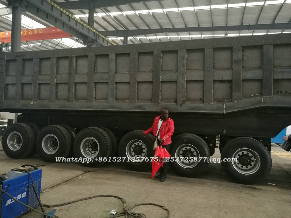 80Set 6 Axles Tipper Trailer For Ghana 100 Ton Mangenese And Bauxite Ores Transport Customer Factory Visit