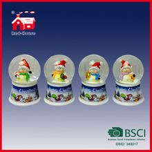 Cute Snowman Mini 45mm Round Glass Water Ball Beauriful Printing Base with LED