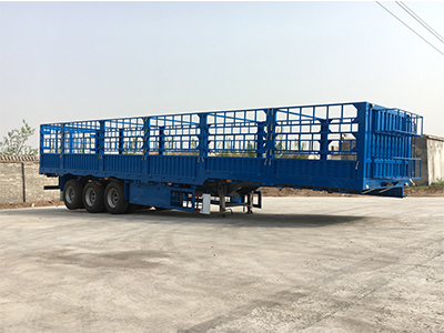 3 Axle 40ft High Drop Side Cattle Gated Stake Fence Truck Semi Trailer