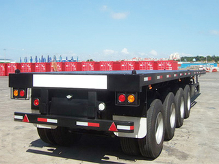 4 Axle 60T Flat Bed Container Truck Semi Trailer