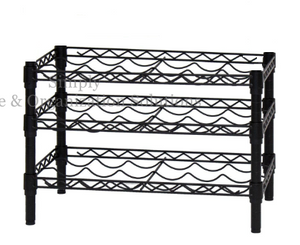 Wine rack with 3 layers of black multi-functional metal wire rack