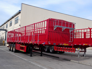 3 Axle 33 Ton High Strength Steel Stake Truck Semi Trailer with Side Wall