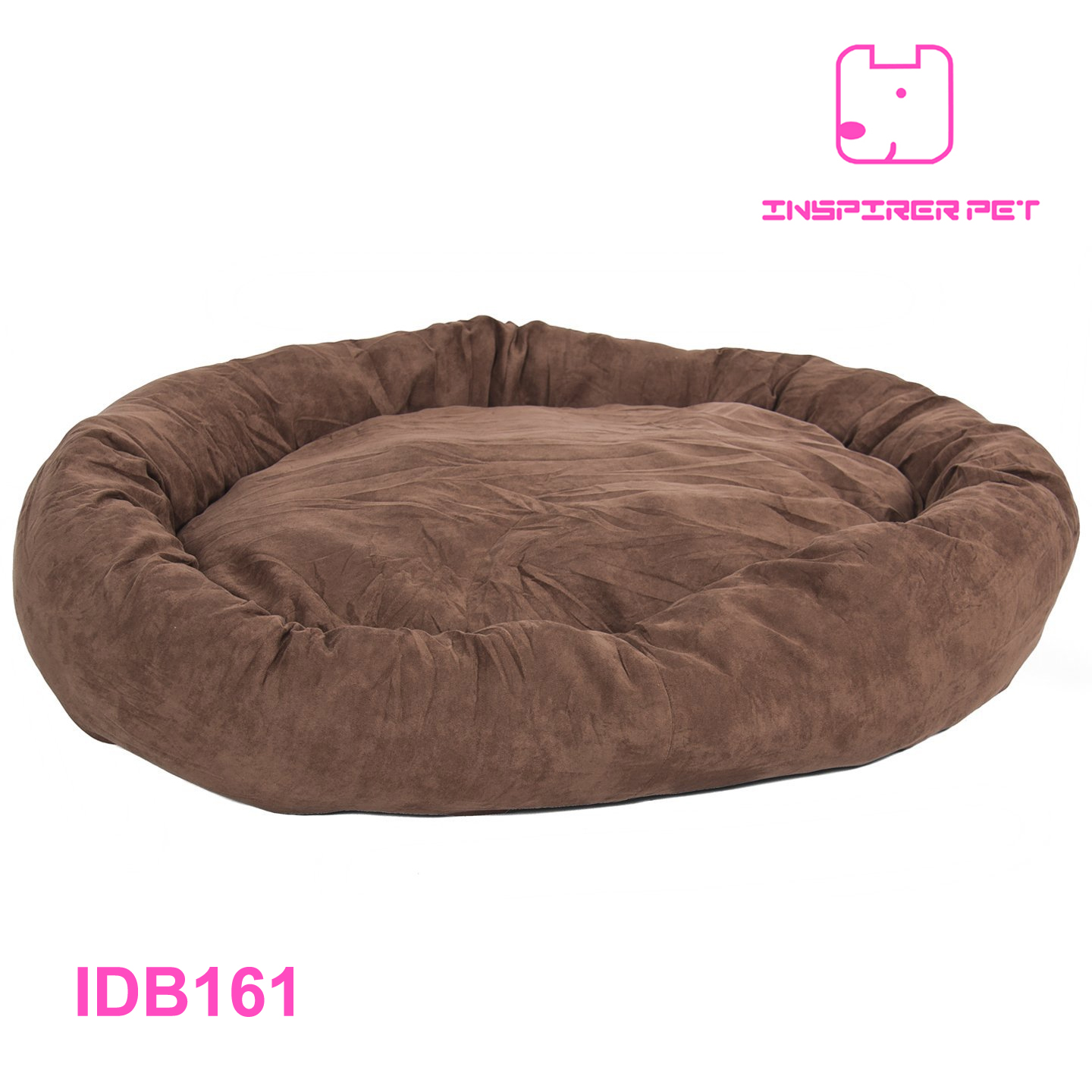 Large Bagel Dog Bed Faux Suede
