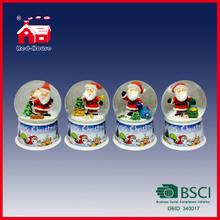 65mm Merry Christmas Glass Water Globe Christmas Scene in Snow Globe on Printed Base