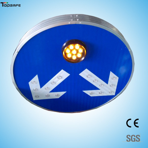 Solar LED round two direction sign