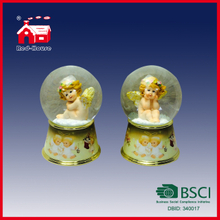 Cute Baby with Wings Inside Glass Water Globe on Printed Resin Base with LED Lights
