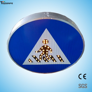 Solar led round pedestrian sign