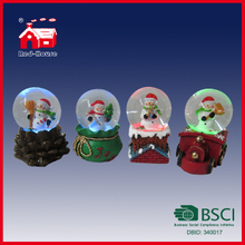 Beautiful Christmas Holiday Snow Globe Water Globe with Cute Snowman Train Chimney Stump Base