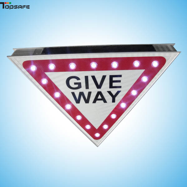 Solar LED Give way sign