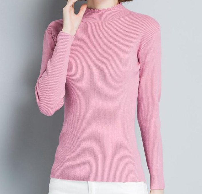 PK18ST091 Women's Falbala Collar Long Sleeve Casual T Shirt Sweater