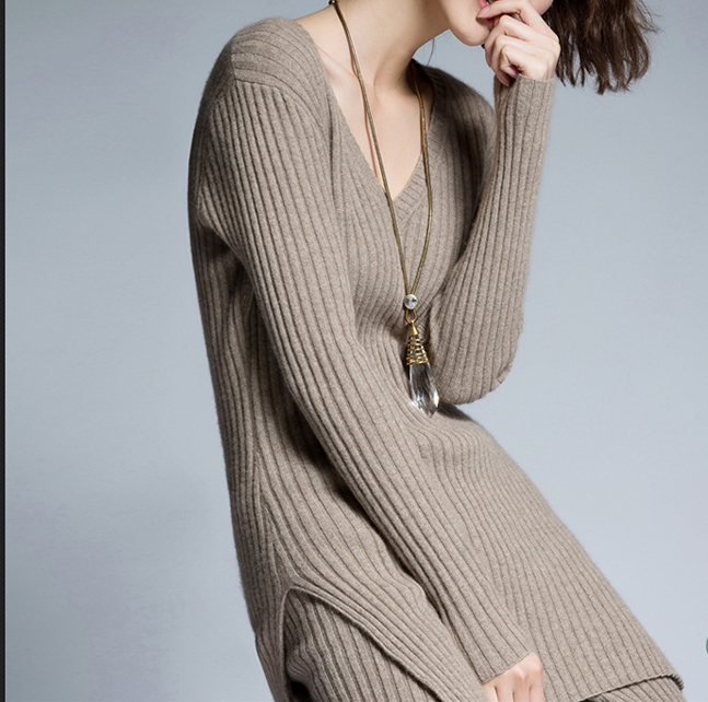P18B08TR 100% cashmere ladies suit sweater long sleeve