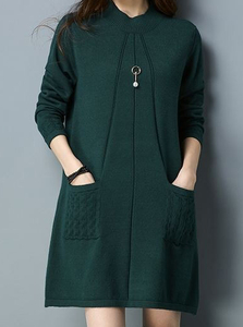 P18C23TR 100% cashmere plus size oversized ladies sweater long dress