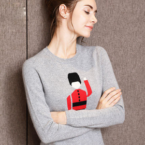 P18B002BW 100% cashmere cartoon pullover crew neck fit women sweater