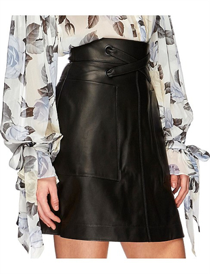 P18E044BW High quality Top new design high waist sexy leather mini skirt with waist belt for women wholesale factory price