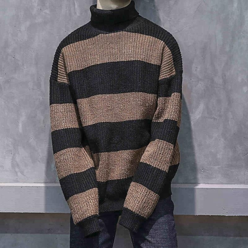 P18B123BE men holiday fashion wool striped turtle neck loose fit baggy pullover sweater