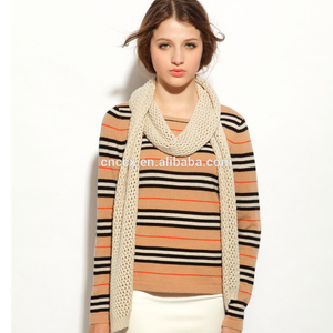 16STC8140 boat neck ladies cashmere blend stripe pullover
