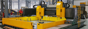 CNC Twin Spindles High Speed Drilling Machine <br> Max. work piece dimension: 6000×6000 mm <br> Thickness of work piece ≤ 200 mm