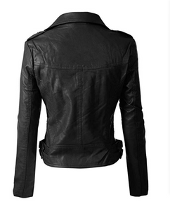 Fashion Women's Long Sleeve Zipper Closure Moto Biker Leather Jacket