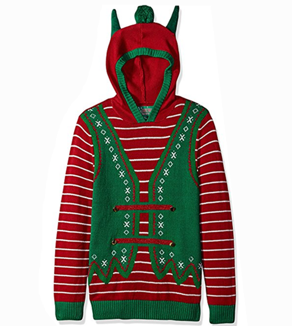PK1812HX Men's Hoodie-Elf With Ears Ugly Christmas Sweater