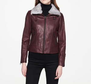 P18E024BW Hot sale up to date fashion genuine leather jacket for women autumn
