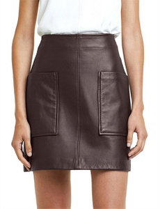 P18E046BW Latest Fashion Classic genuine leather classic women skirt with two pockets