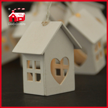 LED Wooden Heart Shape Little White House Christmas Decoration String Light