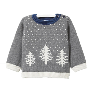 P18B030BE kids winter knitted tree jacquard design long sleeve christmas pullover sweater