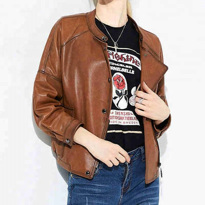 OEM women costume soft sheep leather bomber style motorcycle biker jacket