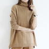 PK18ST076 Latest Design Women Clothing Cable Knit Plaid Long Sleeve Sweater