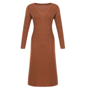 P18B020BE women's autumn winter merino wool knitted solid color V-neck long length dress sweater design