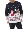 15CSU035 santa & reindeer pattern knit christmas pullover sweater