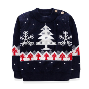 17CSK022 2017 new button knit kids christmas sweater