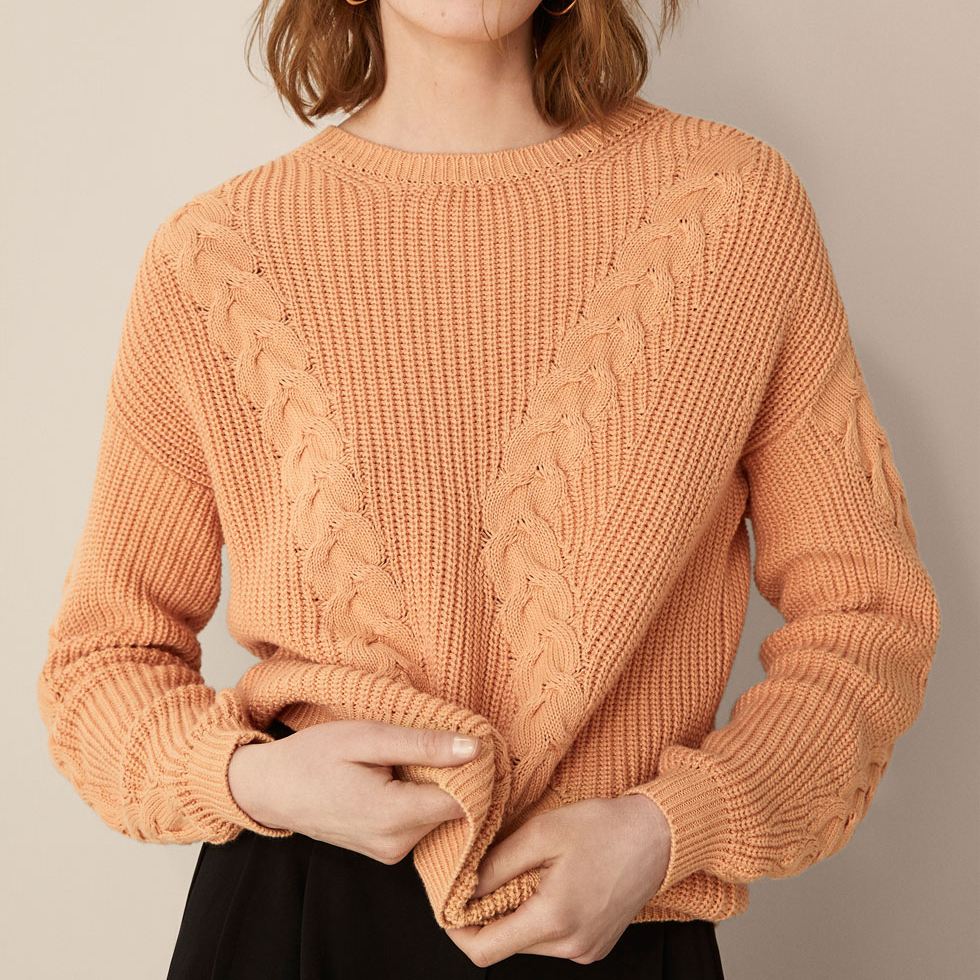 P18B021BW cashmere cotton women's cable knit sweater