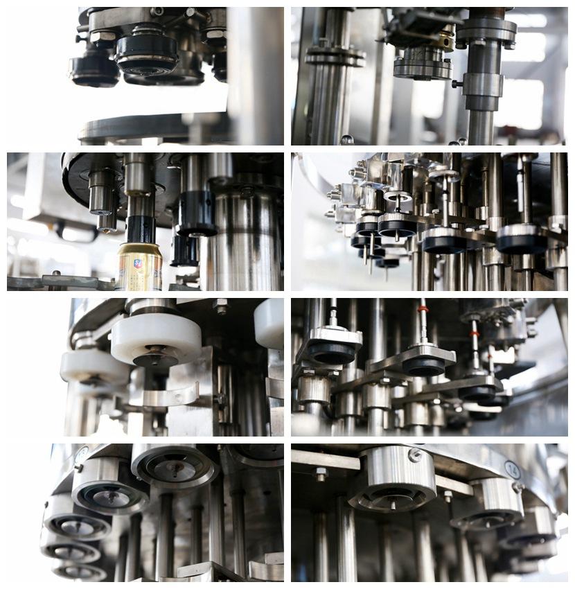一、性能特点 1、技术特点: a灌装部分: 灌装机是运用常压灌装原理自行设计制造,实现将液体灌装到洗好的罐子中。 灌装阀采用等压式机械阀,灌装快捷灵敏,灌装液面精度高。 具有完善的CIP清洗功能。 采用灌装阀口带导向装置和托瓶汽缸提升装置相结合,保证瓶口与灌装阀的准确密封,减少了物料从罐口泄漏的现象。 根据罐型高度不同,可实现手动升降来满足灌装要求。 采用齿轮传动其效率高,噪声小,寿命长,维修方便,润滑充分,采用变频器对机器的主电机转速进行控制,本机采用无级变频调速。 导瓶系统,结构简单,可根据罐型进行快