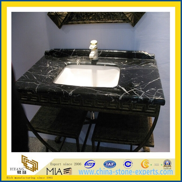 Black marquina black marble vanity top  marble countertop  (YQA-MC1012) (12)